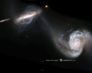 Two galaxies swirling past each other