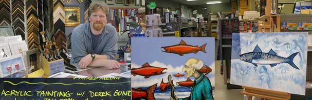 This is a composite photo of local artist Derek Gundy surrounded by some of his work at Artists' Edge in Poulsbo.