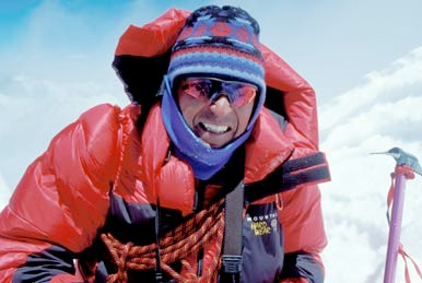 Ed Viesturs on the summit of Mansulu, 1999. www.edviesturs.com