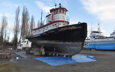 Tristan Baurick/Kitsap Sun The Chickamauga pictured in February at its new dryland home in Port Townsend.
