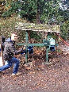 Contributed photo / Grayson Wildsmith Peter Lindsey rebuilding the mailbox for the elderly couple.