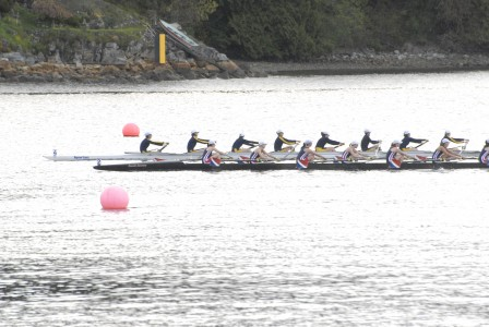 Contributed photo / Anna Bernhard Carson Bainbridge lightweight girls 8 crosses the finish line and takes silver, beating out a Sammamish crew at the Brentwood Regatta held in Canada last weekend. The boat included Tica Drury, Anneke Karreman, Jessie Sheldon, Emma Pazoff, Samantha Dore, Julia Denlinger, Jemma Blazina, Kate Hathaway and coxswain Sydney Gibbs.