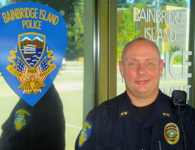 "Ethan Fowler / Special to the Kitsap Sun ""It feels great. It's a new adventure for me and my family,"" says new BIPD Deputy Chief Jeff Horn of moving to Bainbridge Island."