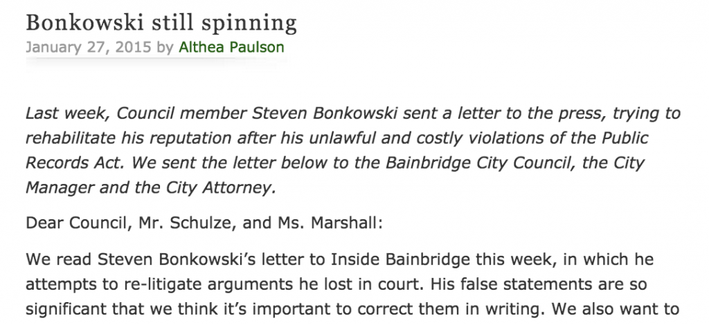 A screen shot of part of Paulson's blog that fires back against Councilman Steve Bonkowski's recent letter to the editor.