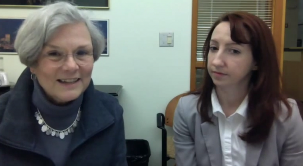 Bainbridge Island Mayor Ann Blair, left, and I during a live video chat with Ed Friedrich.