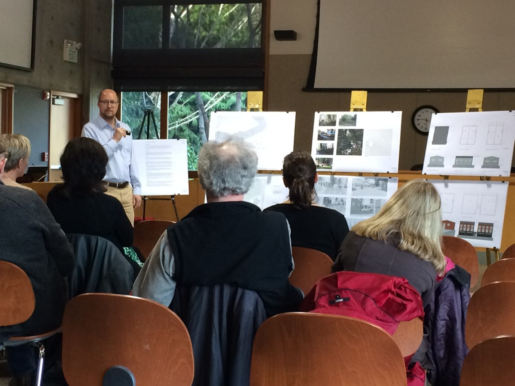 Bainbridge Island architect Michael Wangen talks to residents about the proposed Creative Space development.
