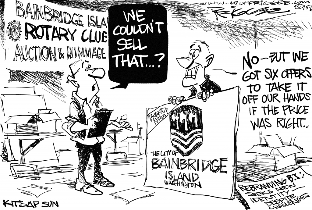 An editorial cartoon by Milt Priggee mingling the uproar with the island annual Rotary sale (shown above) ran in the June 28 edition of the Kitsap Sun.