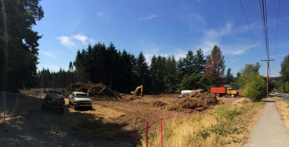 Work crews clear the way for DeNova Northwest's 18-house development on Wyatt Way. Photo by Rachel Anne Seymour/Kitsap Sun