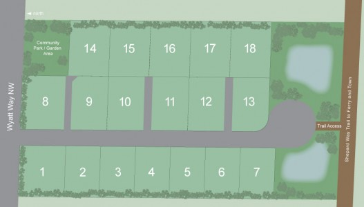 A map of the 18-house development on Wyatt Way, known as Ashbury. Photo from DeNova Northwest's website.