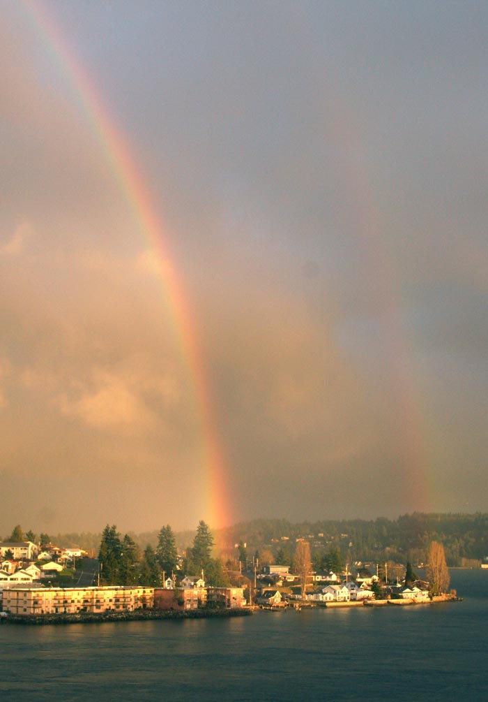 Double rainbow in Bremerton over Manette. I swear this photo was not doctored. Ask anyone who was on Washinton Ave. about 4:30 Wednesday.