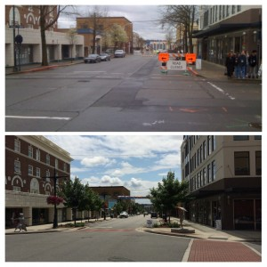 Pacific Avenue, Before and after it got bigger sidewalks.