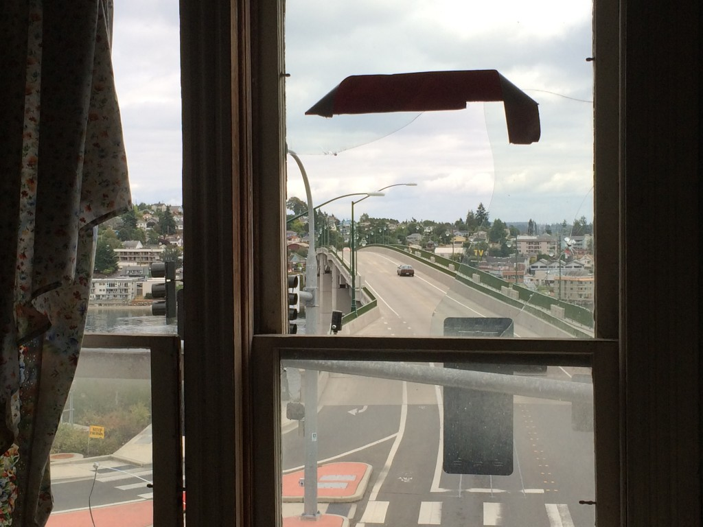 The view inside Hoffman's home, overlooking the Manette Bridge. The home was full of heirlooms and property, much of which was moved to a storage unit.