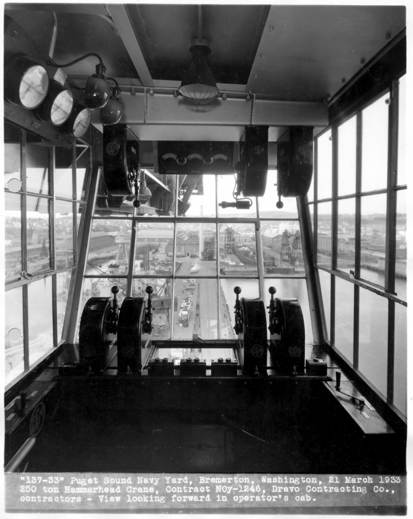 The cockpit of the crane. Photo courtesy of Puget Sound Naval Shipyard.