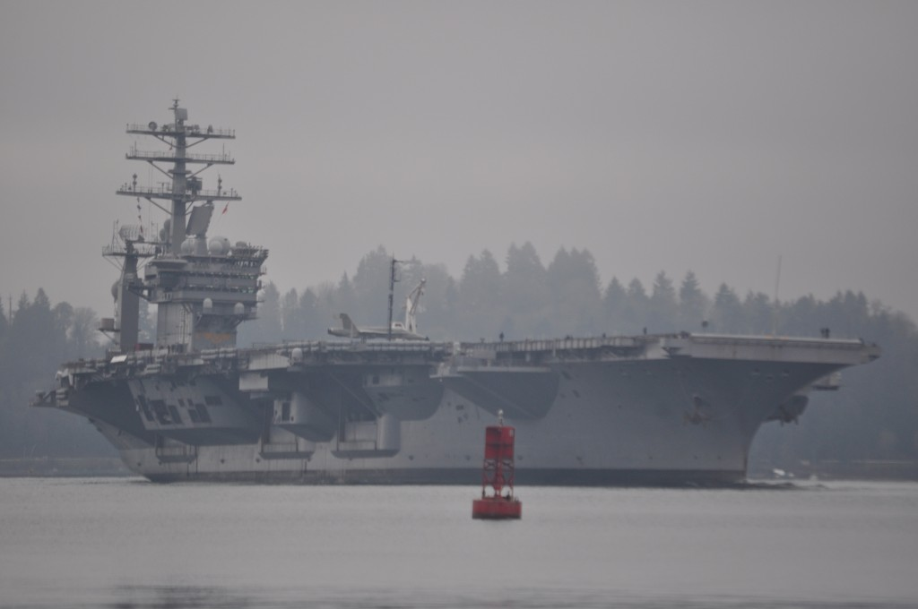 Reporter Tristan Baurick snapped this shot from the south end of Bainbridge as the Nimitz approached.