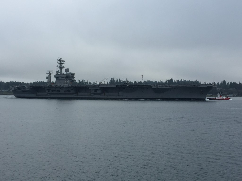 Bobby Davis was on the ferry as the Nimitz rumbled by.
