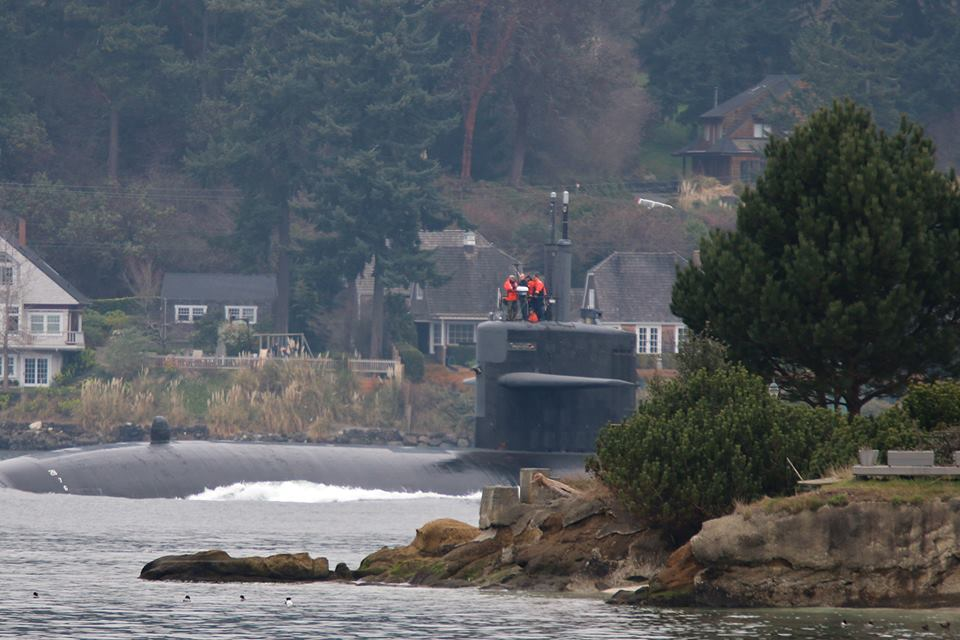Patrick Kerber got this great shot of the sub coming into Rich Passage.