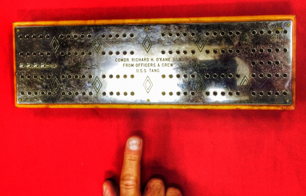 That famous cribbage board. Still played to this day.