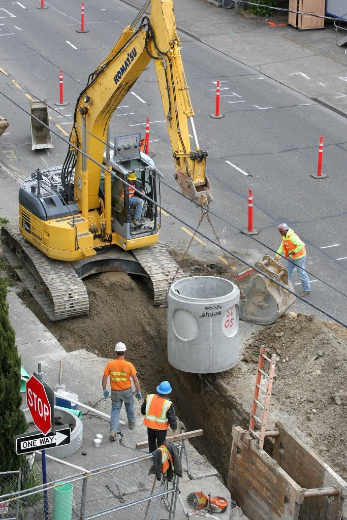 Work begins down at Fifth Street and Washington Ave. in Bremerton during the first phase of improvements. LARRY STEAGALL / KITSAP SUN