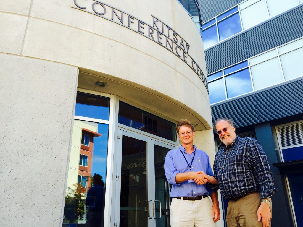 Bob Abel (left) and Steve Kahn at the Kitsap Conference Center Thursday.