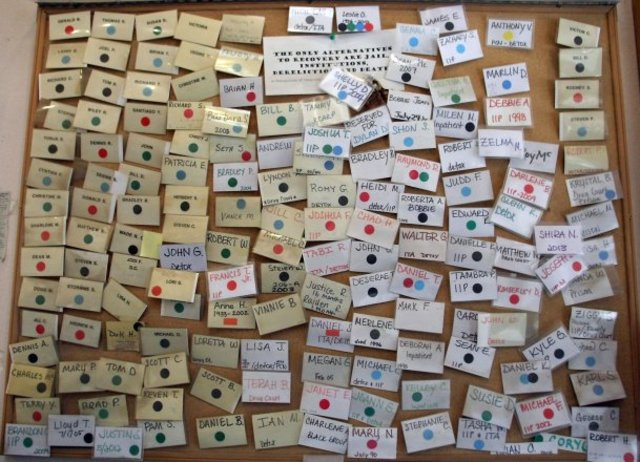 Nametags of those who went through Kitsap Recovery Center who later died or went to prison.