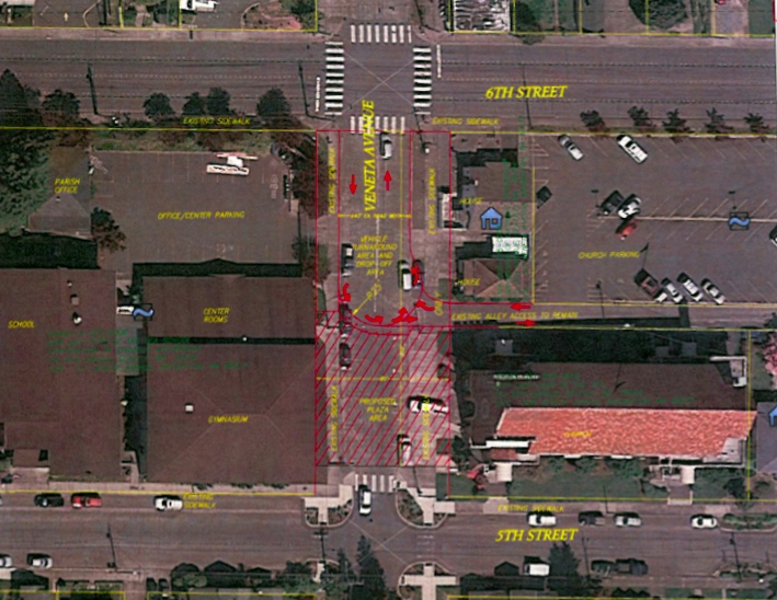 Rendering of the potential street closure on Veneta Avenue.