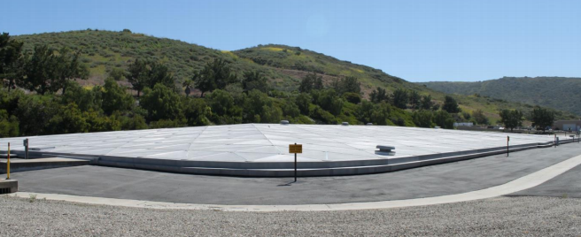 "A ""hard"" cover lid on a reservoir in Laguna, California."
