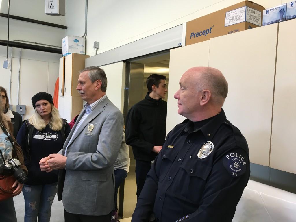 Kitsap County Coroner Greg Sandstrom (left) and Bremerton Police Chief Steve Strachan.