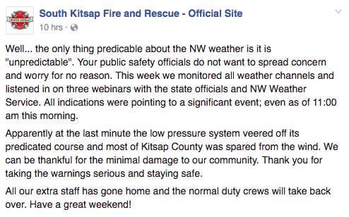From South Kitsap Fire & Rescue's Facebook page.
