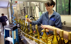 Katie Morrow places foil on the bottles during the bottling process at Eleven Winery on Bainbridge Island on Thursday, May 30, 2013. (MEEGAN M. REID / KITSAP SUN)