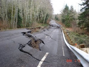 Highway 112 sank up to 8 feet in some places. Department of Transportation photo.