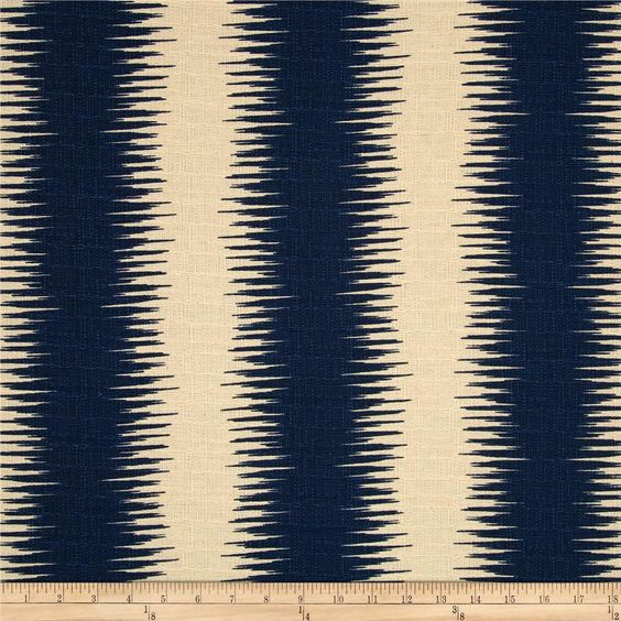 I wanted to pull in navy blue for a bit of contrast. Jiri Stripe in Navy/Birch, $12.96/yd on fabric.com.