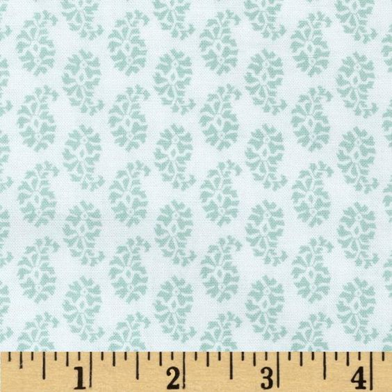 This will cover the dining bench cushion. Joyful Leaf Paisley in White/Teal, $6.64/yd on fabric.com.