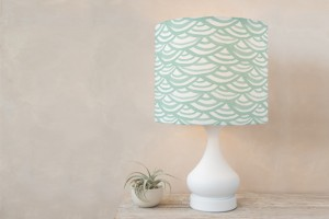lamp shade watercolor scallops minted