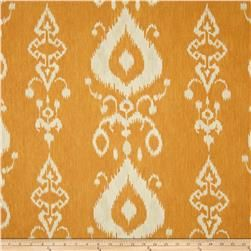 The warm tones complement the cool aqua of the bench fabric. I'll make a pillow out of this one. Tullahoma Ikat in Copper, $9.48/yd on fabric.com.