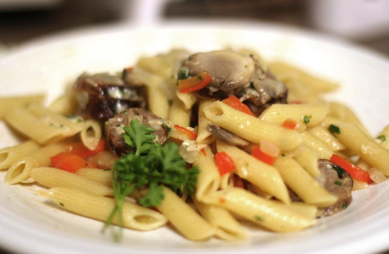 Italian Sausage and Penne Pasta (recipe follows): 8 ounces penne noodles,