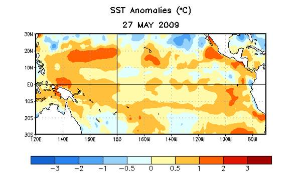 *Sea surface temperatures rising along the equator signal a possible return to El Nino*