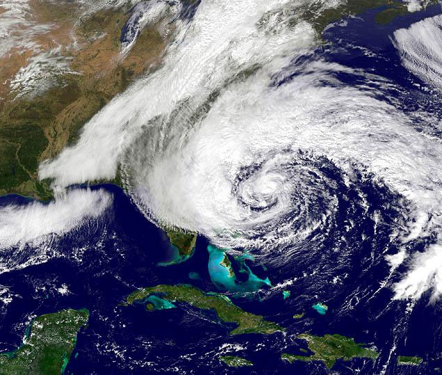 A frightening satellite picture of Hurricane Sandy racing across the Atlantic, heading right for the eastern seaboard