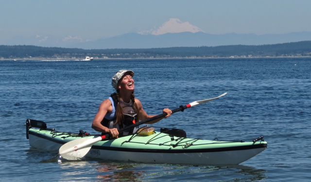 Me kayaking near Hansville, Washington, with Mount Baker in the background