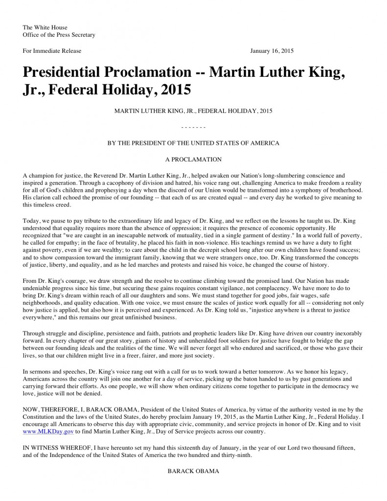 Presidential Proclamation -- Martin Luther King, Jr., Federal Holiday, 2015 | The White House