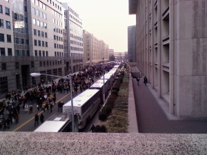 <em>The walk to the mall. Thanks to Zachary Malloy, an O'Dea sophomore from this area, sending us shots from the inauguration.</em>