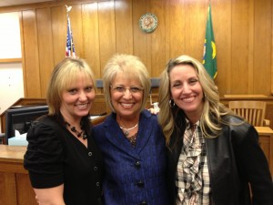 Jan Angel (center) with daughters Erin Brinkerhoff (left) and Kara Morkert (right).