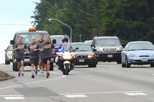 Left to right: DPA Chad Enright Deputy Duane Dobbins Corrections Sgt. Scott Billingsley Sgt. Jim Porter (with torch) Deputy Darren Andersson on motorcycle