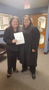 Tarra Simmons and Superior Court Judge Melissa Hemstreet