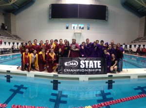 Kingston and North Kitsap celebrated their fourth place and seventh place finishes, respectively, at the Class 2A boys state swimming championships Saturday at KCAC. (Annette Griffus | Kitsap Sun)
