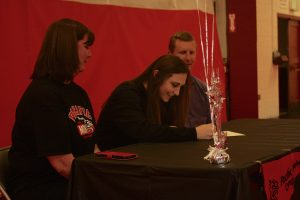 Kalie Nation of Crosspoint signed her letter to play soccer at Pacific University earlier this month. (Contributed photo)