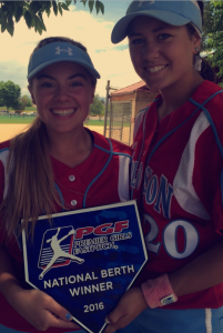 Angel Prewitt, left, of South Kitsap and Amber Bumbalough of Klahowya, are members of USA Explosion 16U Gold that qualified for the PGF national tournament this summer. (Contributed photo)