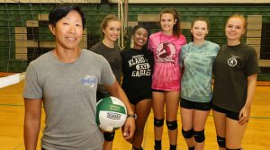 Coach Kim Renken's Klahowya Volleyball team returns a core of seniors for the Eagles. They are, from left, Jessica Carlson, Nicole Mills, Ashley Sharp, Madison Jones and joining them for the season is foreign exchange student Sarah Irgen Thorsesen.