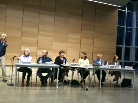 From left, Debbie Vancil, Bob Scales, Dee DuMont, Debbi Lester, Tim Jacobsen and Kirsten Hytopoulos attended the LWV Kitsap candidate forum on Bainbridge Island Sept. 28.