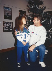 Zana Gearllach, 10, met Seahawks wide receiver Steve Largent in 1988. The 35-year-old Seabeck resident is now attending Super Bowl XLVIII in New Jersey. Submitted photo