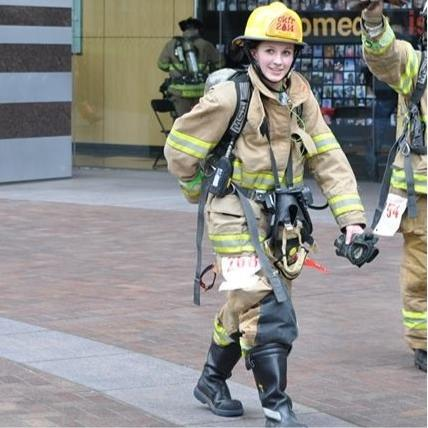 CKFR's Lindsay Muller at the Scott Firefighter Stairclimb in Seattle on Sunday, March 9.